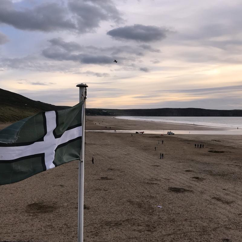 Woolacombe Beach, Devon Flag. Out on a dog walk with my friend.