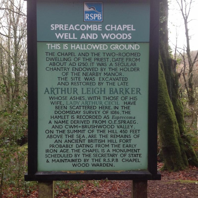 The sign to Spreacombe Chapel, a short walk from Spreacombe Gardens