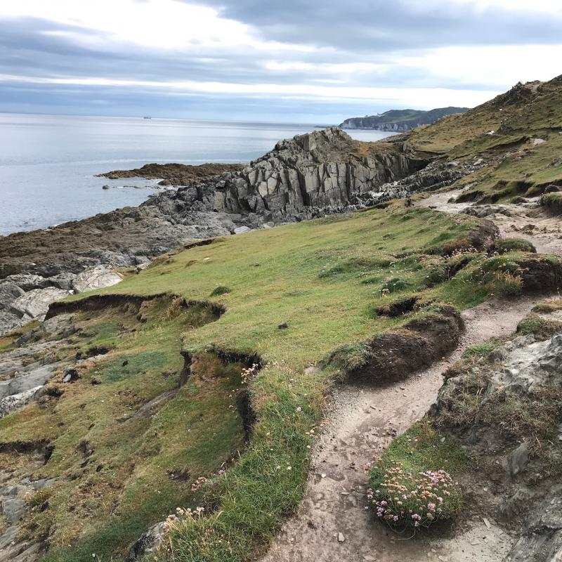 Empty Cliff path by Mortehoe Point