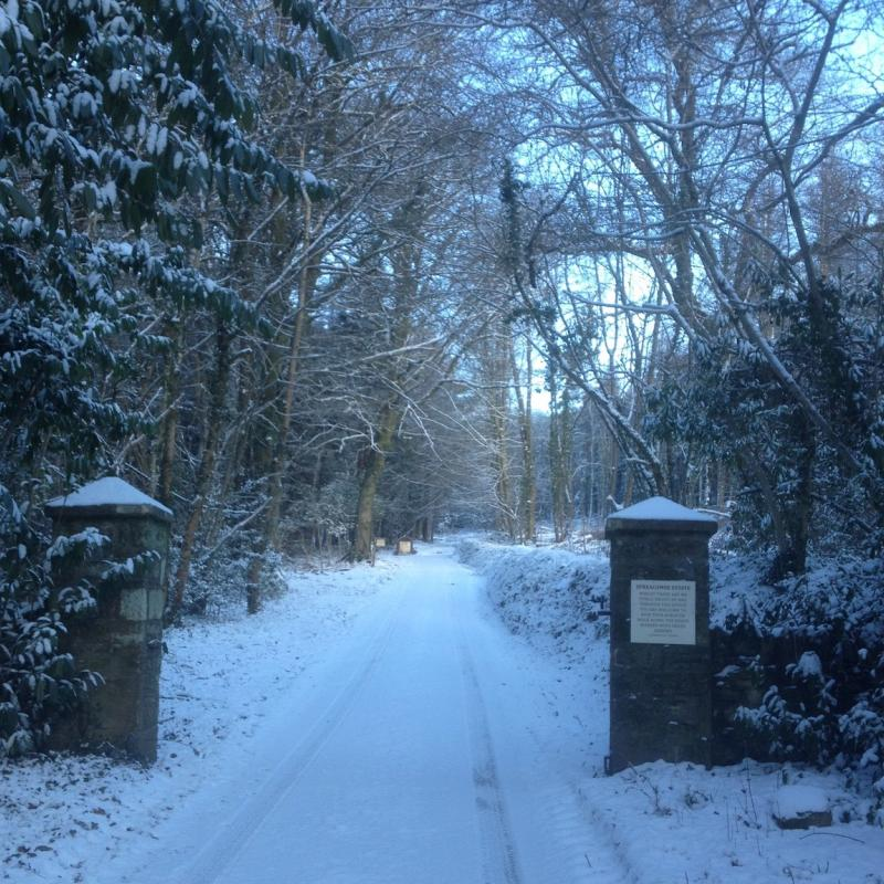 entrance to Spreacome Estate in the snow
