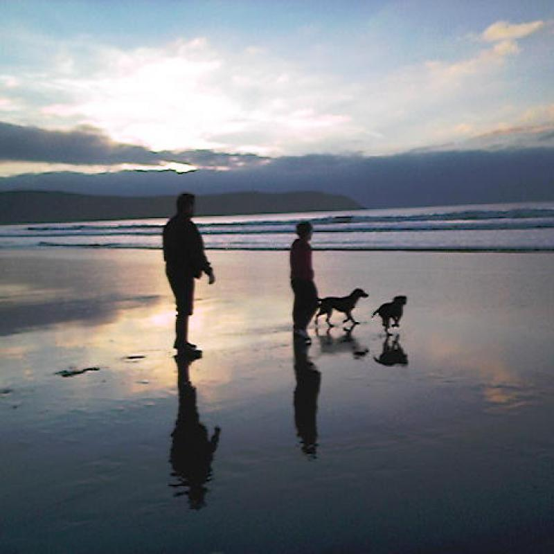 Sunset on Woolacombe Beach. Family walk with the dogs before returning to our cottage